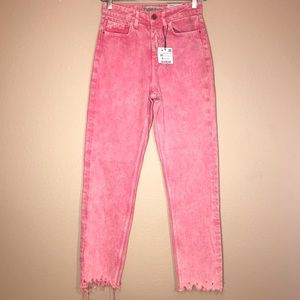 Zara Pink Acid Wash Mom Jeans With Frayed Edges